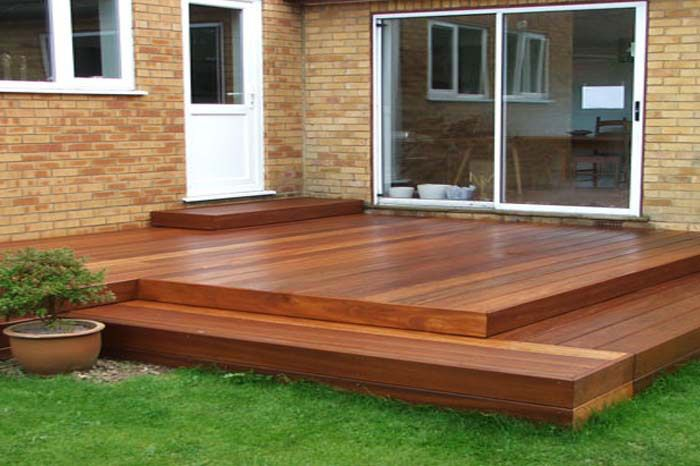 Timber garden decking for Images of garden decking